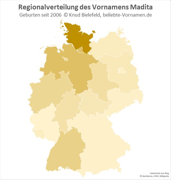 Besonders beliebt ist der Name Madita in Schleswig-Holstein.