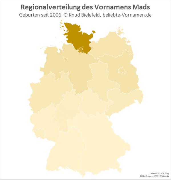 Der Name Mads ist vor allem in Schleswig-Holstein und in Hamburg verbreitet.