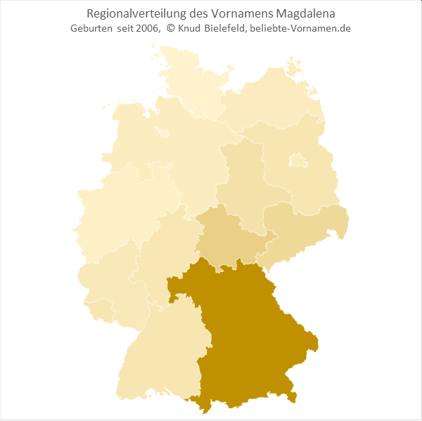 In Bayern kommt der Vorname Magdalena am häufigsten vor.