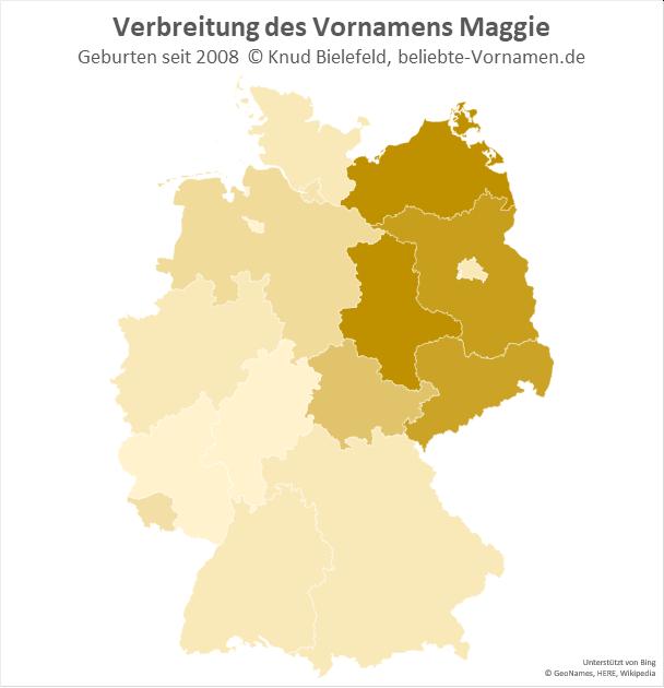 In Mecklenburg-Vorpommern und in Sachsen-Anhalt ist der Name Maggie besonders beliebt.