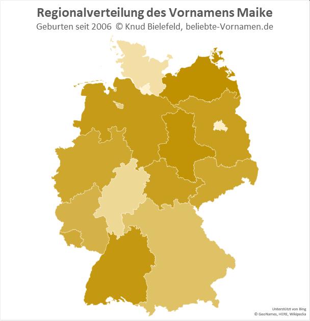 In Schleswig-Holstein und Hamburg ist der Name Maike eher unter Erwachsenen verbreitet. Heute wird der Name im Rest Deutschlands häufiger vergeben.