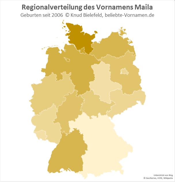 In Schleswig-Holstein ist der Name Maila besonders beliebt.