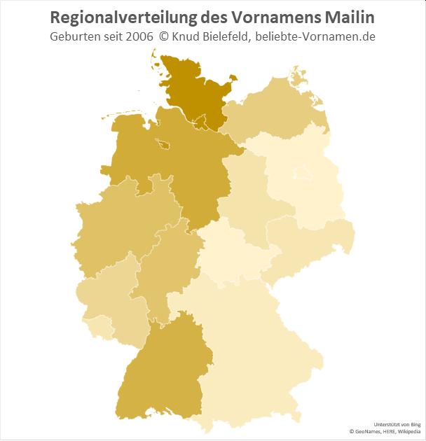 Der Name Mailin ist im Westen Deutschlands beliebter als im Osten.