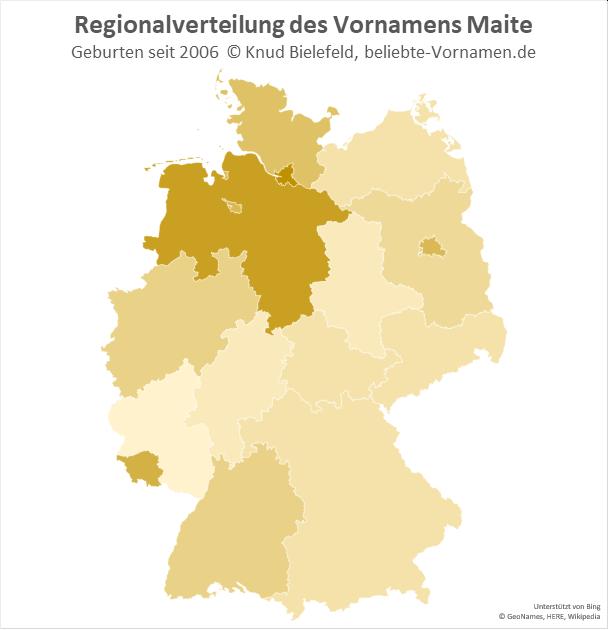 In Hamburg und Niedersachsen ist der Name Maite besonders beliebt.