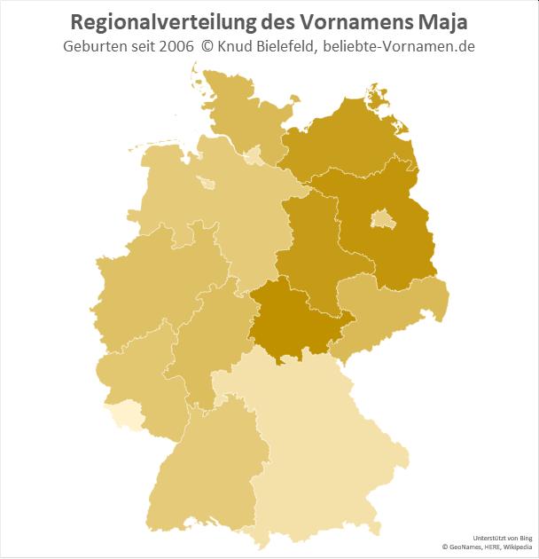 Besonders beliebt ist der Name Maja in Brandenburg und Thüringen.