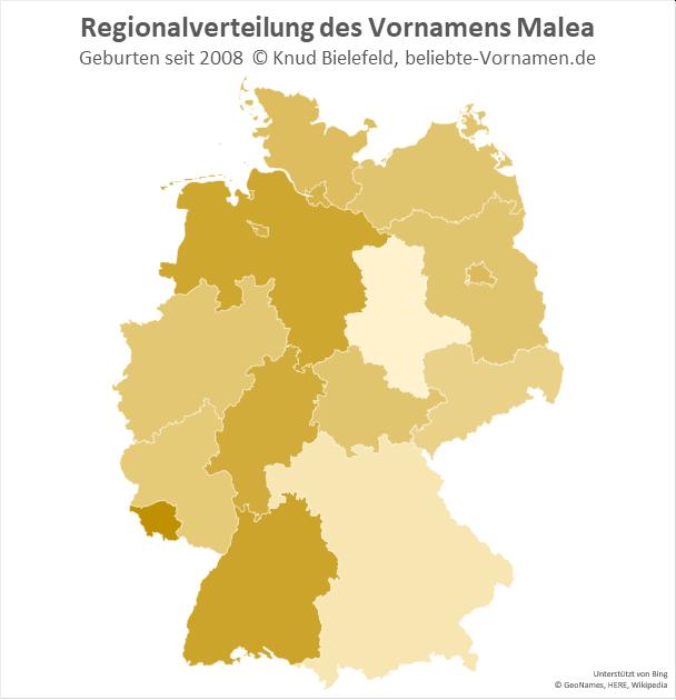 Am beliebtesten ist der Name Malea im Saarland.