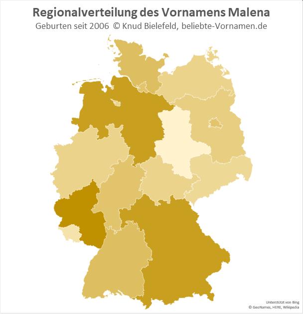 In Rheinland-Pfalz ist der Name Malena besonders beliebt.