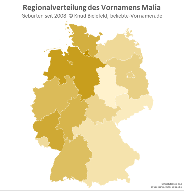 In Hamburg und Niedersachsen ist der Name Malia besonders beliebt.