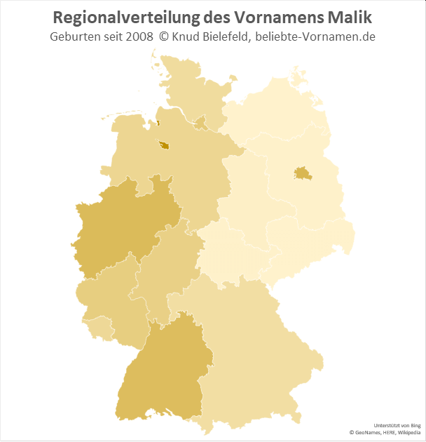 Am beliebtesten ist der Name Malik in Bremen.