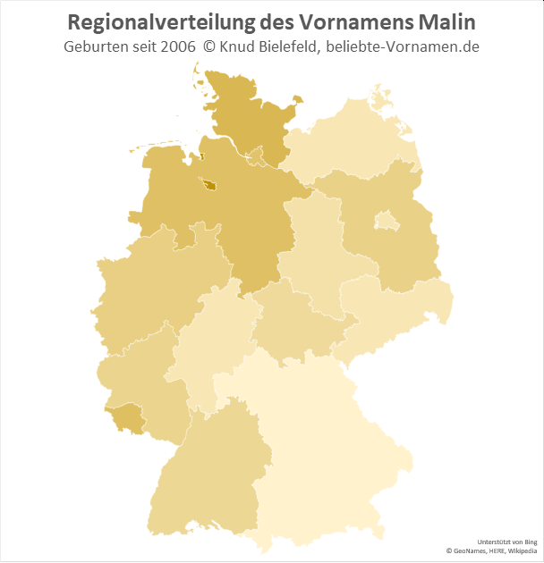 Am beliebtesten ist der Name Malin in Bremen.