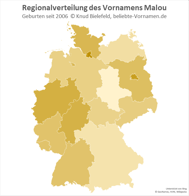 In Hamburg und Berlin ist der Name Malou besonders beliebt.