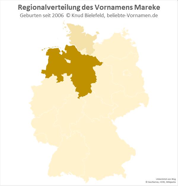 Den Namen Mareke gibt es fast nur in Niedersachsen.