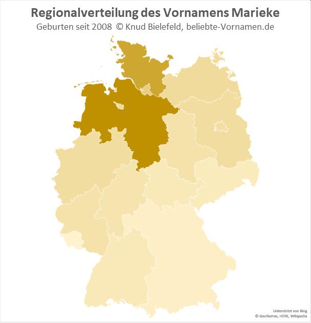 In Niedersachsen ist der Name Marieke besonders beliebt.