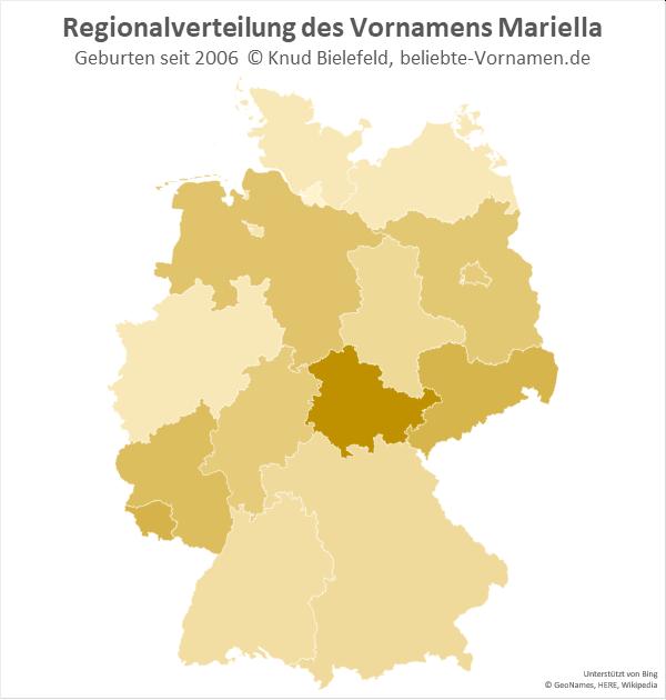 Am beliebtesten ist der Name Mariella in Thüringen.