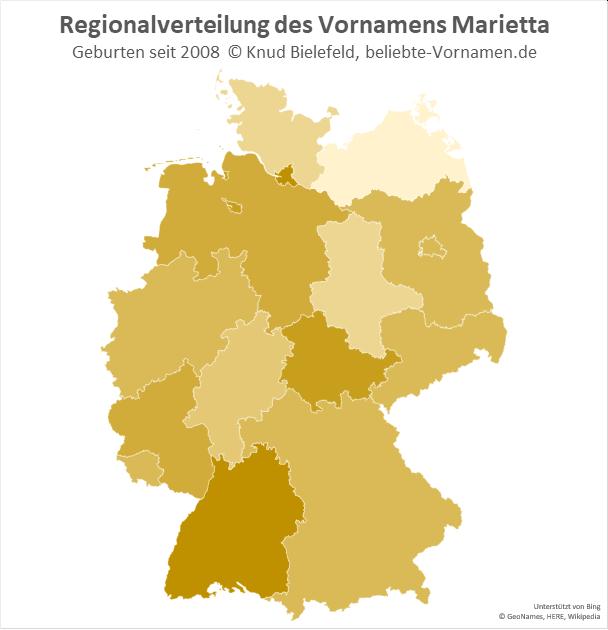In Hamburg und in Baden-Württemberg ist der Name Marietta besonders beliebt.