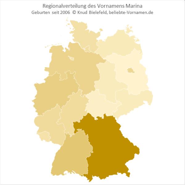 Am beliebtesten ist der Name Marina in Bayern.