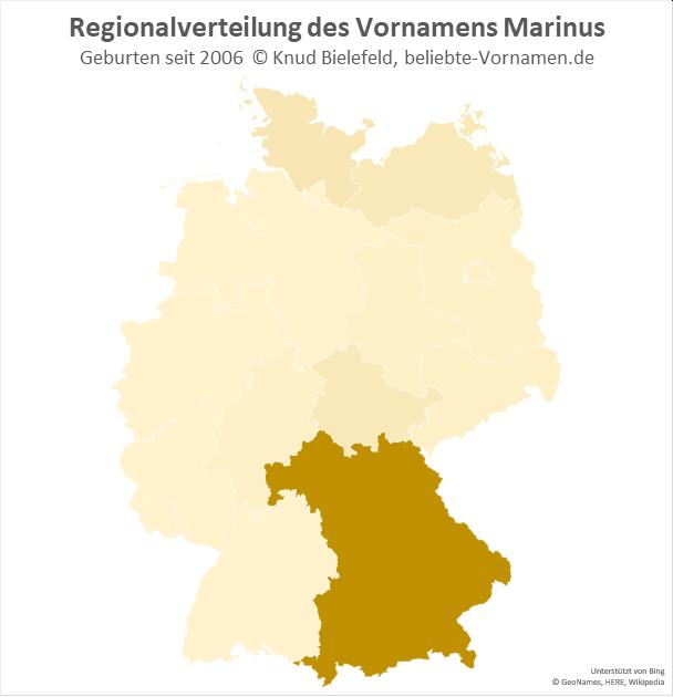 Der Name Marinus kommt fast ausschließlich in Bayern vor.