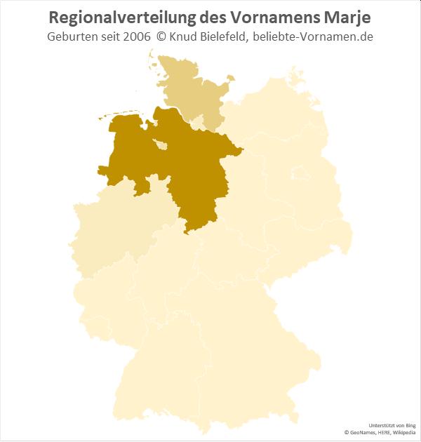 Der Name Marje ist vor allem in Niedersachsen, aber auch in Schleswig-Holstein verbreitet.