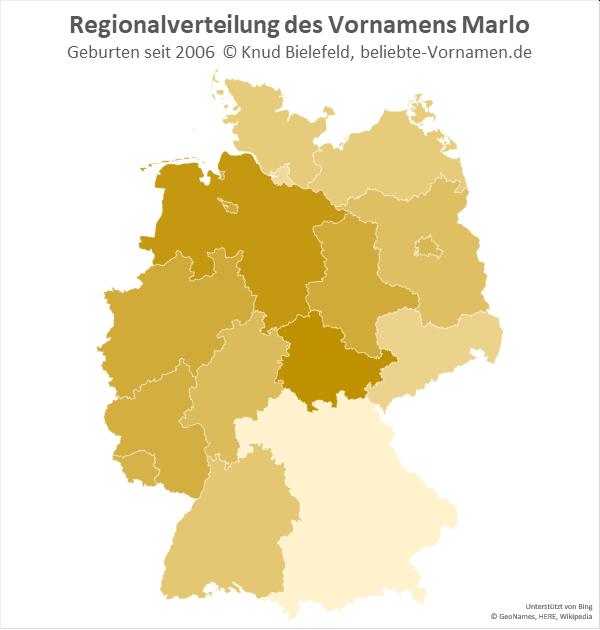 Der Name Marlo ist in Niedersachsen und in Thüringen besonders beliebt.