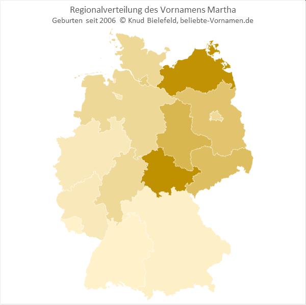 In Thüringen und in Mecklenburg-Vorpommern ist der Name Martha besonders beliebt.
