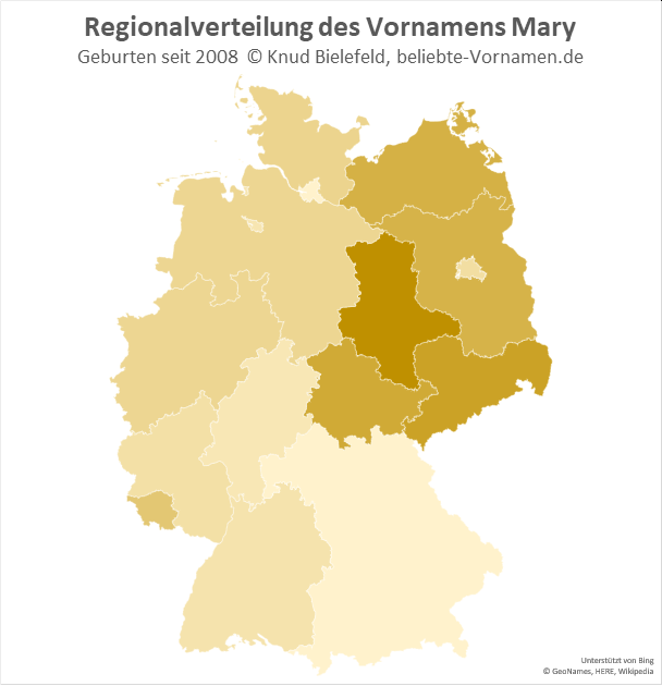 In Sachsen-Anhalt ist der Name Mary besonders beliebt.