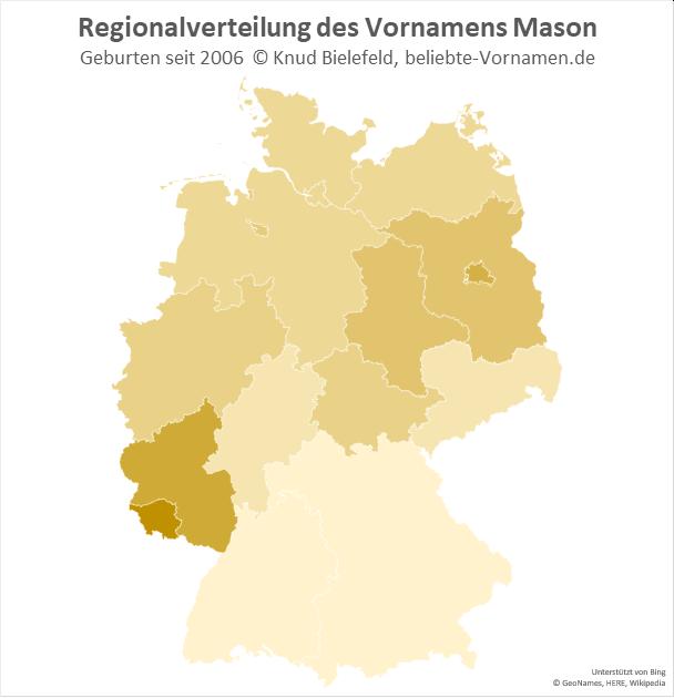 Im Saarland und in Rheinland-Pfalz ist der Name Mason besonders beliebt.