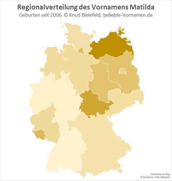 Der Name Matilda ist in Mecklenburg-Vorpommern besonders populär.