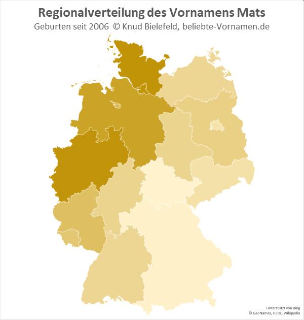 In der Schreibweise Mats ist der Name in Nordrhein-Westfalen und in Schleswig-Holstein am beliebtesten.