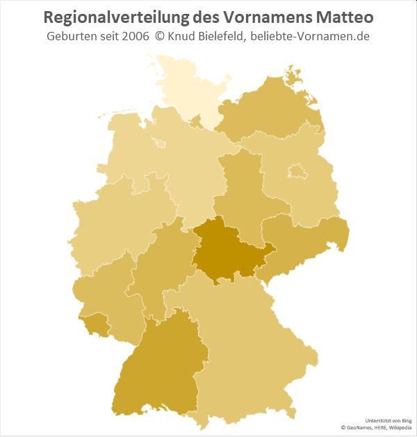 In Thüringen ist der Name Matteo am beliebtesten.