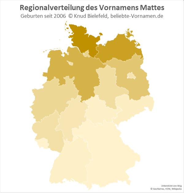 In Norddeutschland ist der Name Mattes am beliebtesten.