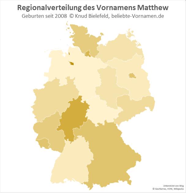 Am beliebtesten ist der Name Matthew in Bremen und in Hessen.