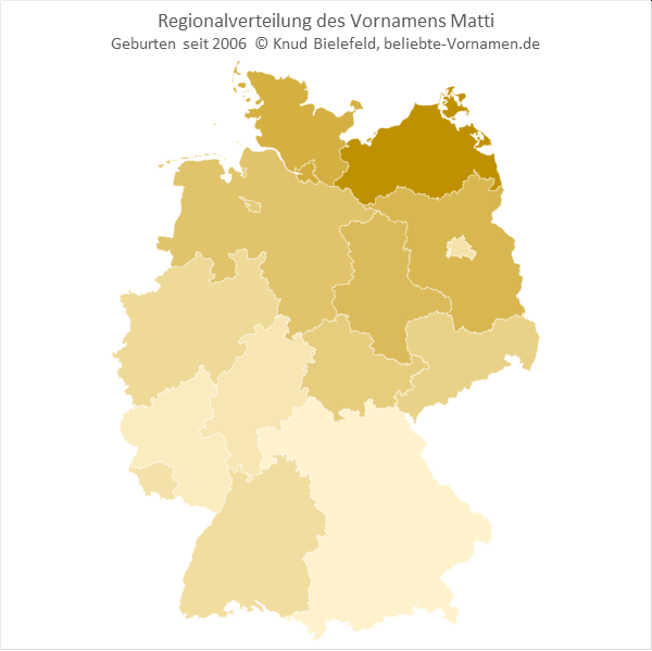 Am beliebtesten ist der Name Matti in Mecklenburg-Vorpommern.