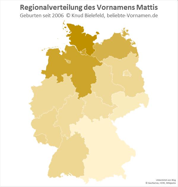 Der Name Mattis ist in Schleswig-Holstein besonders beliebt.