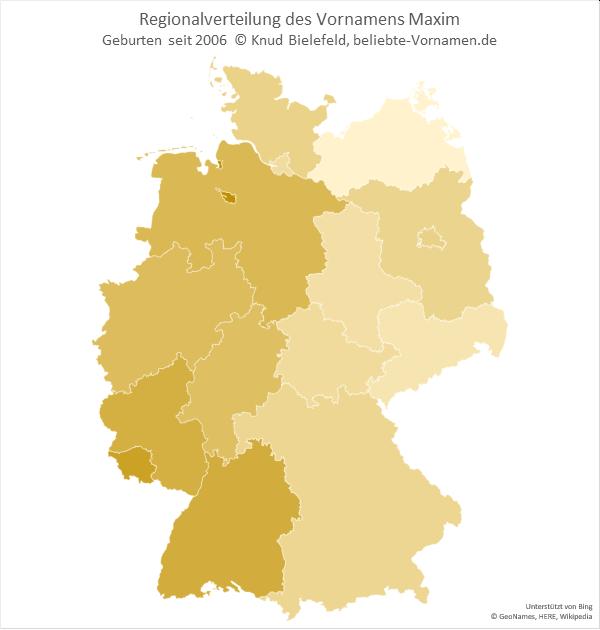 Der Name Maxim kommt in Deutschlands Westen häufiger vor als im Osten.