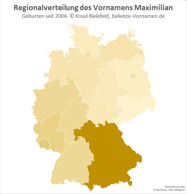 Besonders beliebt ist der Name Maximilian in Bayern.