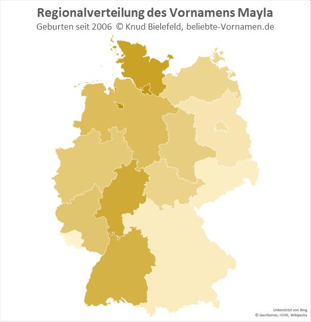 Im Westen Deutschlands ist der Name Mayla populärer als im Osten.