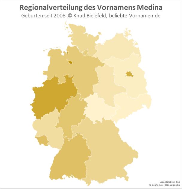In Bremen und in Nordrhein-Westfalen ist der Name Medina besonders beliebt.