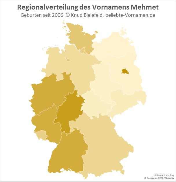 In Hessen und Berlin ist der Name Mehmet besonders beliebt.