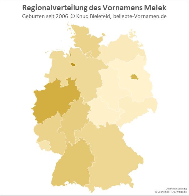 In Bremen und Nordrhein-Westfalen ist der Name Melek besonders beliebt.