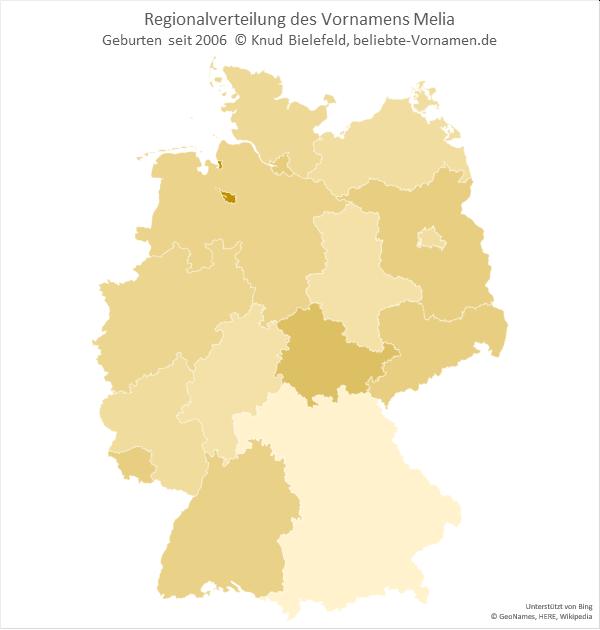 Am beliebtesten ist der Name Melia in Bremen.