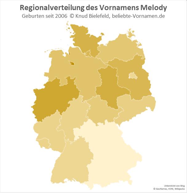 In Nordrhein-Westfalen ist der Name Melody besonders beliebt.