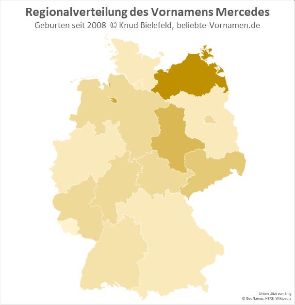 Besonders beliebt ist der Name Mercedes in Mecklenburg-Vorpommern.