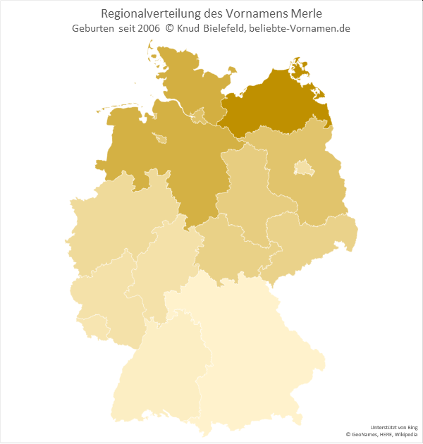 Der Name Merle ist vor allem in Norddeutschland gebräuchlich.