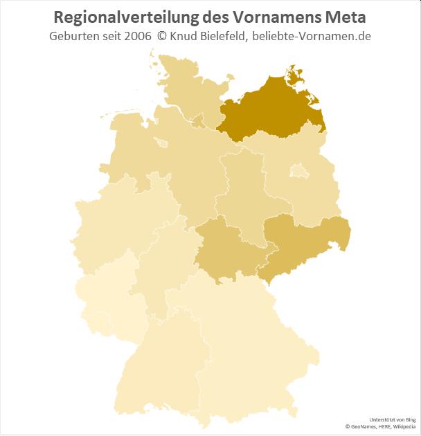Am beliebtesten ist der Name Meta in Mecklenburg-Vorpommern.