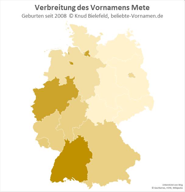 Am beliebtesten ist der Name Mete in Baden-Württemberg.