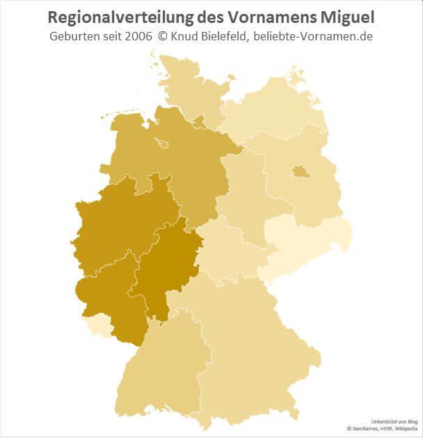 In Hessen, Nordrhein-Westfalen und Rheinland-Pfalz ist der Name Miguel besonders beliebt.