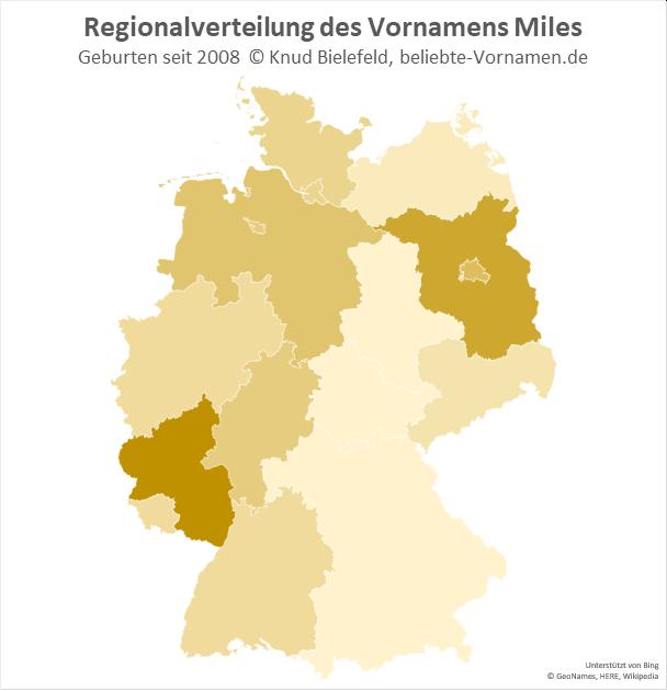 Besonders beliebt ist der Name Miles in Rheinland-Pfalz.