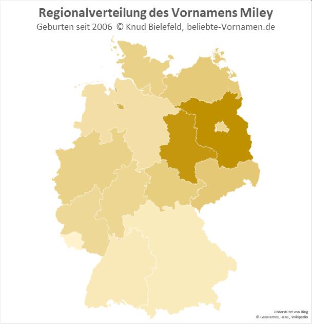 In Brandenburg und Sachsen-Anhalt ist der Name Miley besonders beliebt.
