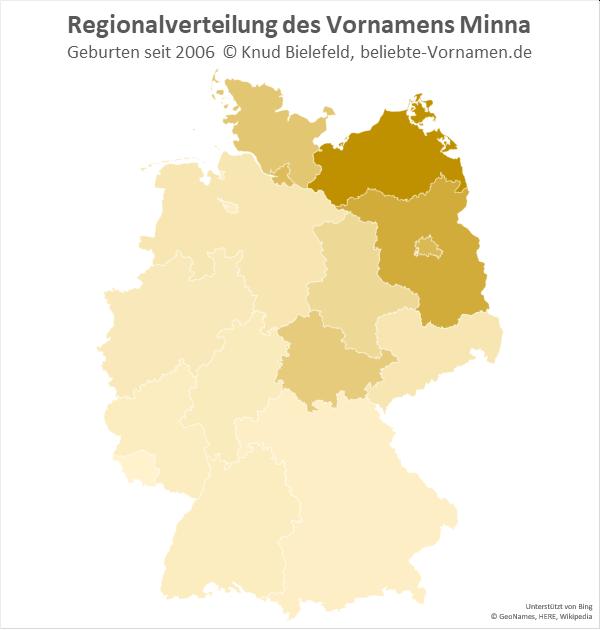 In Mecklenburg-Vorpommern ist der Name Minna besonders beliebt.