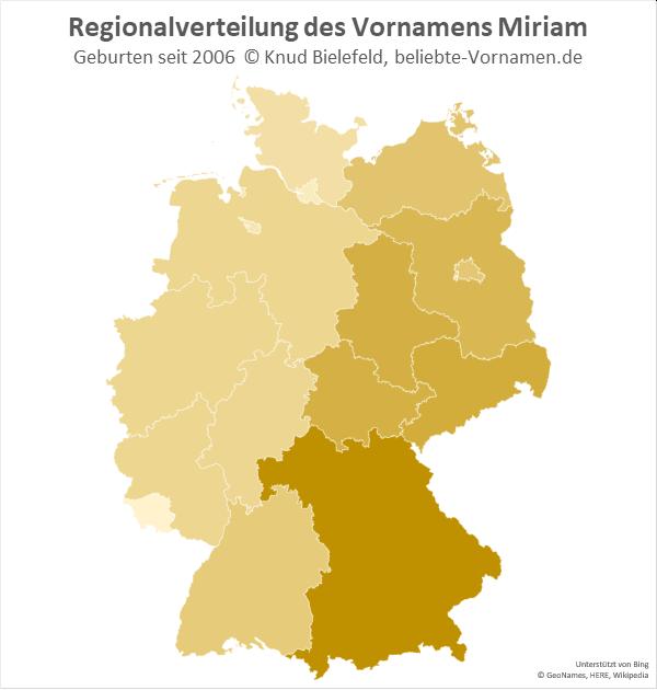Am häufigsten kommt der Name Miriam in Bayern vor.